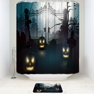 Halloween Pumpkin Moon at Night Shower Curtain & Bath Mat Set