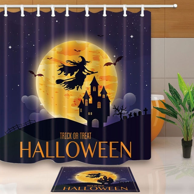 Halloween Witch Flying Shower Curtain & Bath Mat Set