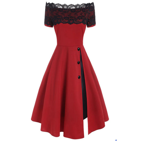 Lace Slash Neck Rockabilly Gothic Dress
