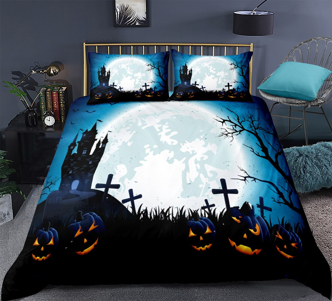 Creepy Moon Castle Pumpkin Duvet Bedding Set