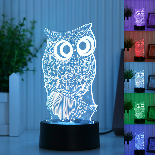7 Color Owl Lamp 3D Visual Acrylic Night Lamp