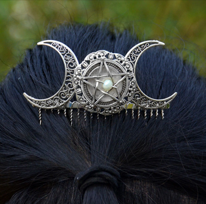 Gothic Crescent Moon Hair Comb Pin