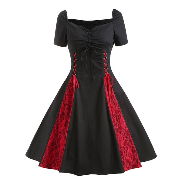 Vintage Gothic Lace Up Dress