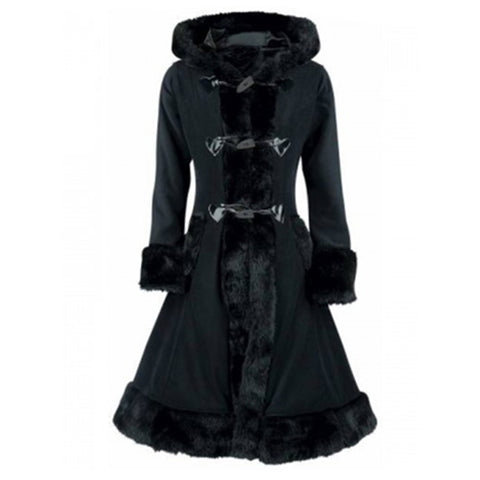 Gothic Long Sleeve Slim Black Hooded Jacket