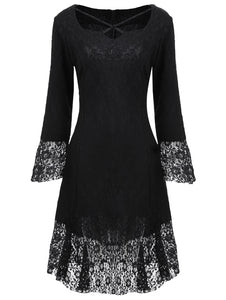 Vestlinda Sweetheart Brocade Lace Black Dress