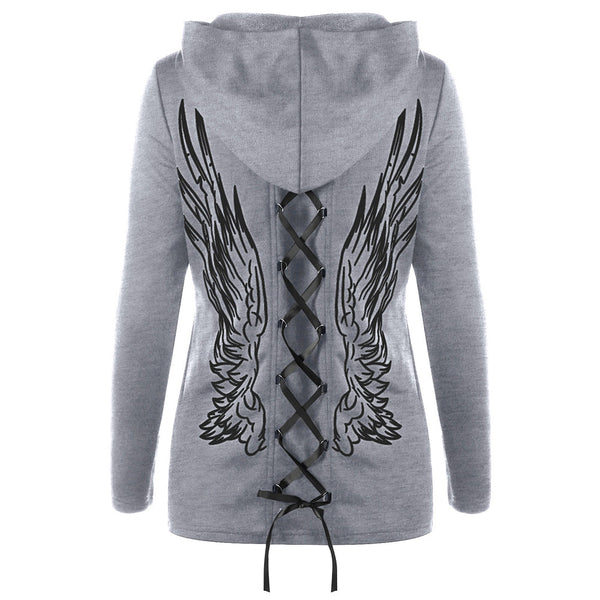 VESTLINDA Lace-up Wings Print Zip Up Hooded Sweatshirt