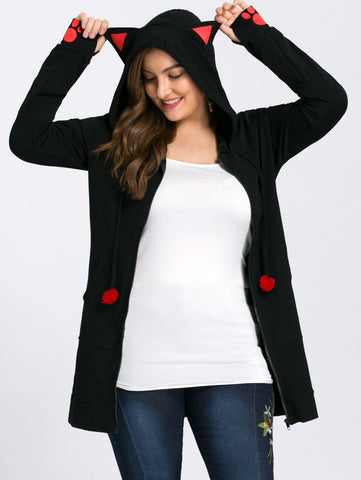 Gamiss Plus Size Zip Up Cat Ear Sweatshirt
