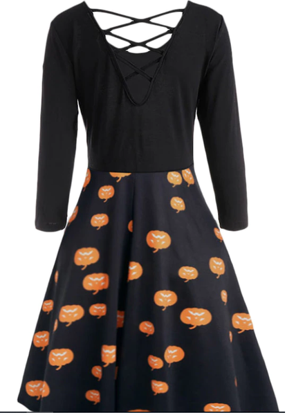 Halloween Pumpkins or Cats Print Plus Size Flare Dress