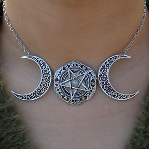 Crescent Moon Pentagram Necklace