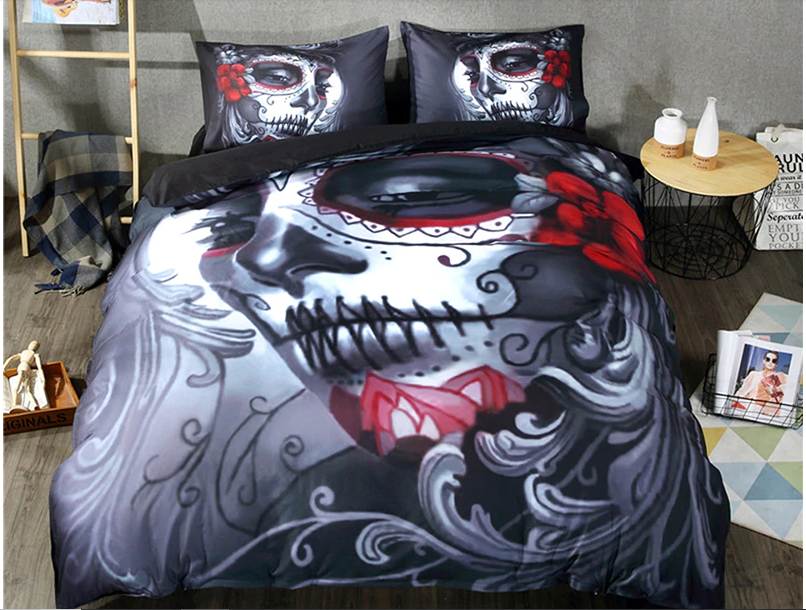 3D Printed Gothic Skull Woman Flower Bedding Set