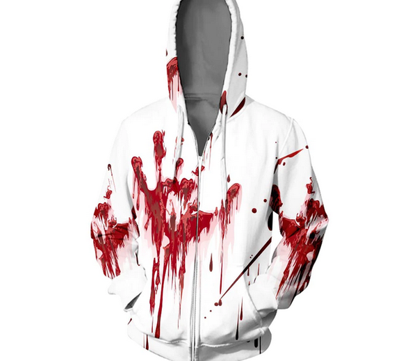 3D Printed Zip Up Blood Hand Horror Sweatshirt