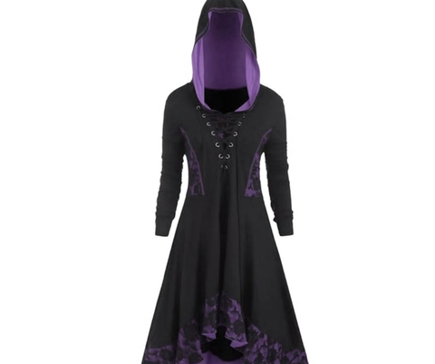 Gothic Style Hooded Lace Up Dress
