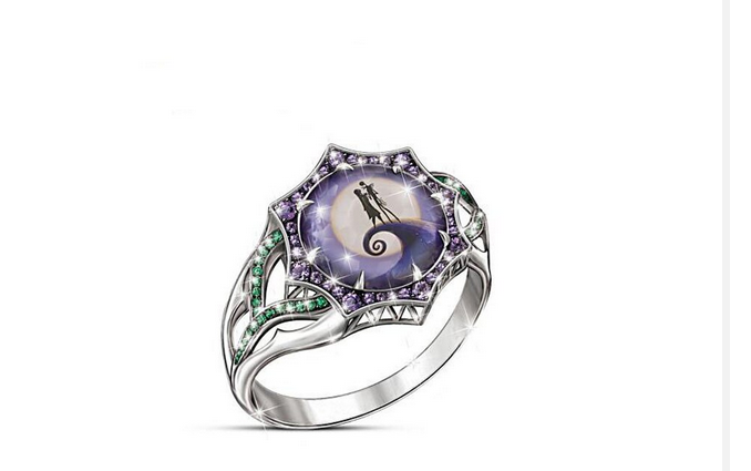 Jack and Sally Nightmare Before Christmas Together Forever Ring