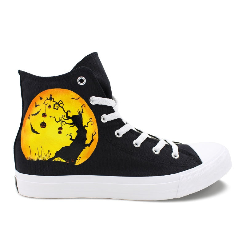 Wen's  Custom Hand Painted Halloween Night  Women's  Canvas Sneakers