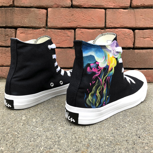Wen's  Custom Hand Painted Colorful Smoke Women's  Canvas Sneakers