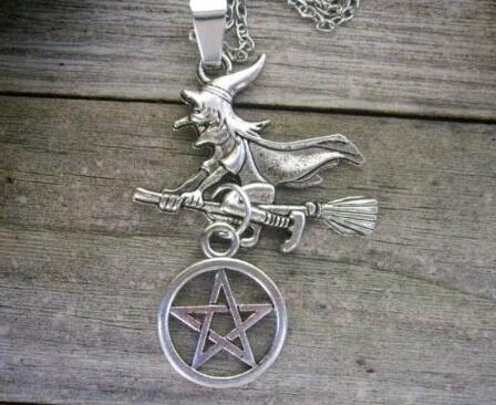Witch Flying Broom Pentagram Necklace