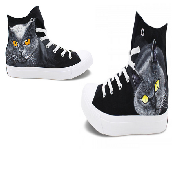 Wen's  Custom Hand Painted Cats Eyes Women's  Canvas Sneakers