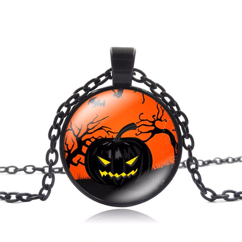 Halloween Pumpkin 25mm Pendant Necklace