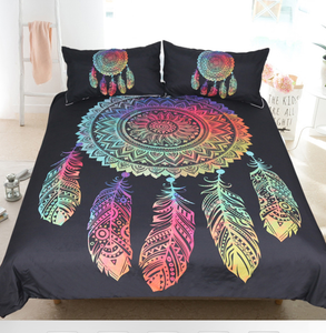 Boho Feathers Colored Dreamcatcher Duvet Bedding Set