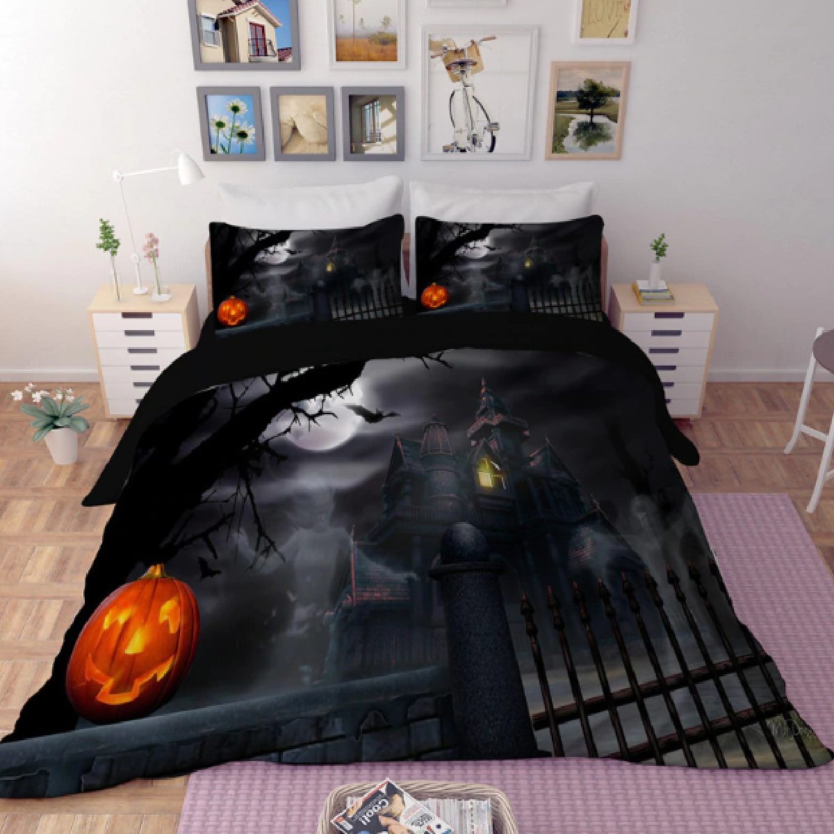 Halloween Mansion Duvet Bedding Set
