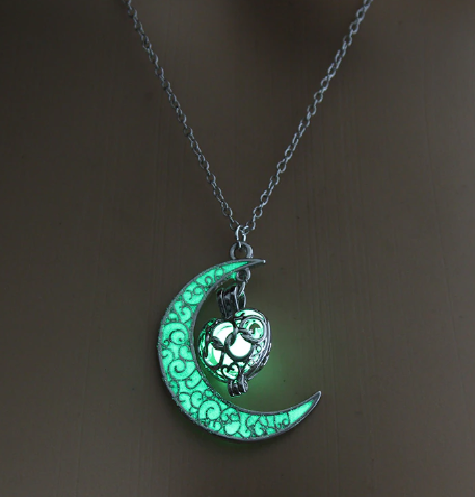 Luminous Glow Heart Moon Necklace