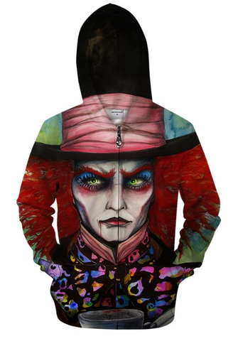 The Mad Hatter By Pixie Cold Art Zip Up