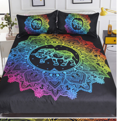 Mandala Elephant Bohomeian 3D Duvet 3pc Bedding Set
