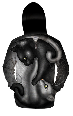 Yin yang cat by KhaliaArt Zipper 3D Sweatshirt