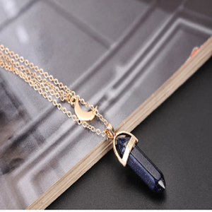 Moon Stone Crystal Pendant Necklace