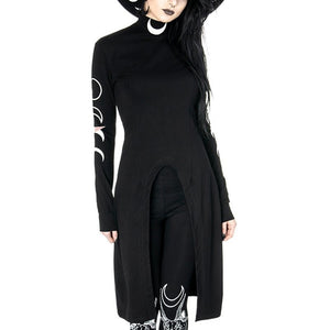 Gothic Turtle Neck Moon Phases Dress