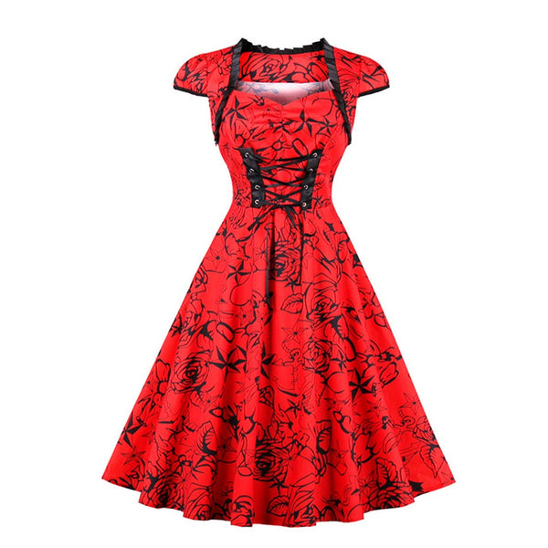 Rosetic Gothic Red & Black Floral Lace Up Dress