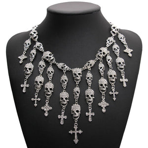 Skeleton Skull Cross Necklace Jewelry