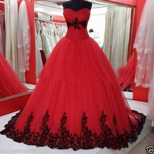 Vintage Ball Gown Princess Black And Red Sweetheart Gothic Wedding Dress