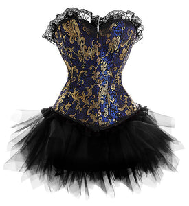Burlesque Blue Gold Victorian Brocade Corset &Tutu Skirt Halloween Costume