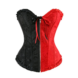 Zip Front Corset Jacquard Floral Lace Up
