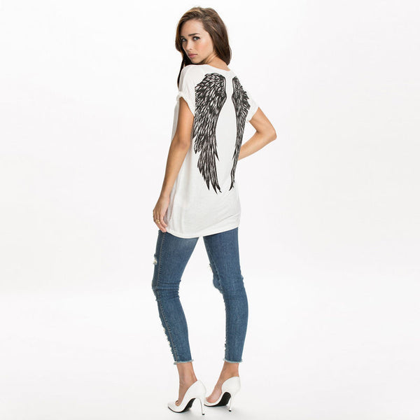 Angel Wings Print Short Sleeve Loose Top