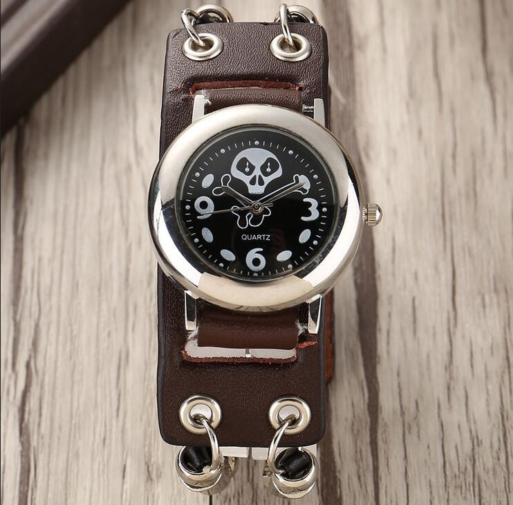 Brown Leather Skull Steam Punk Wristwatch