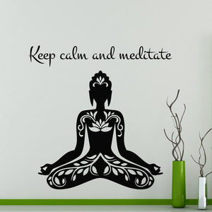 Keep Calm And Meditate Yoga Lotus Pose Wall Sticker