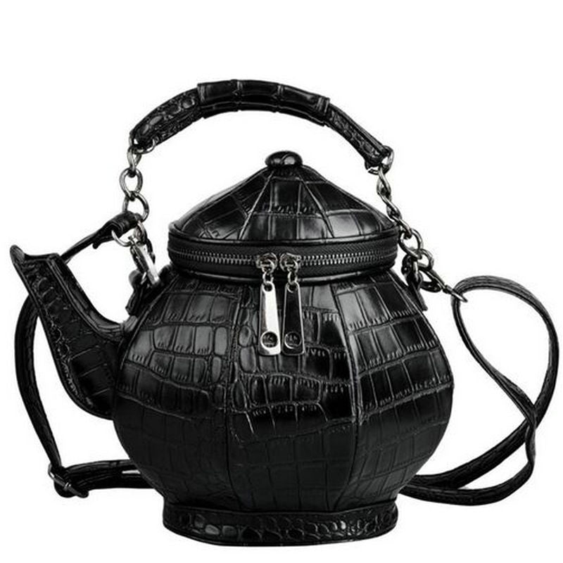 Teapot Shaped Leather Gothic Handbag