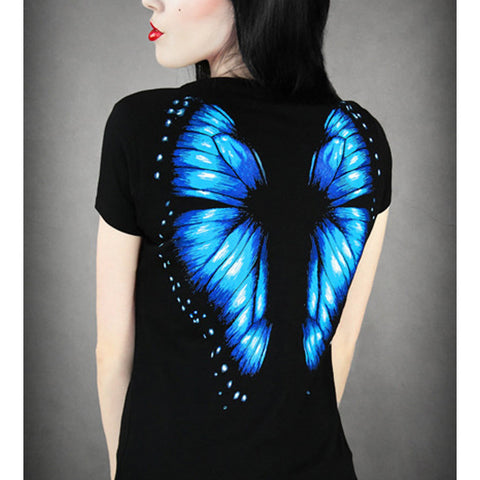 3D Wing Butterfly Print Women Shirt