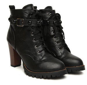 Black High Heel Buckle Gothic Boots