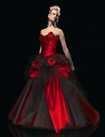 Vintage Sweetheart Ball Gown Princess Black And Red Gothic Wedding Dress