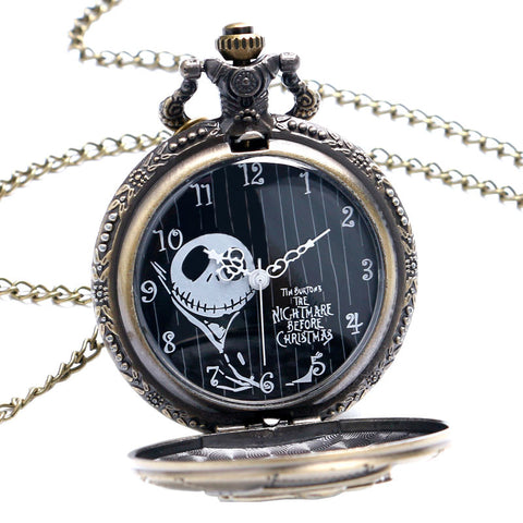 The Nightmare Before Christmas Jack Skellington Quartz Pocket Watch Necklace