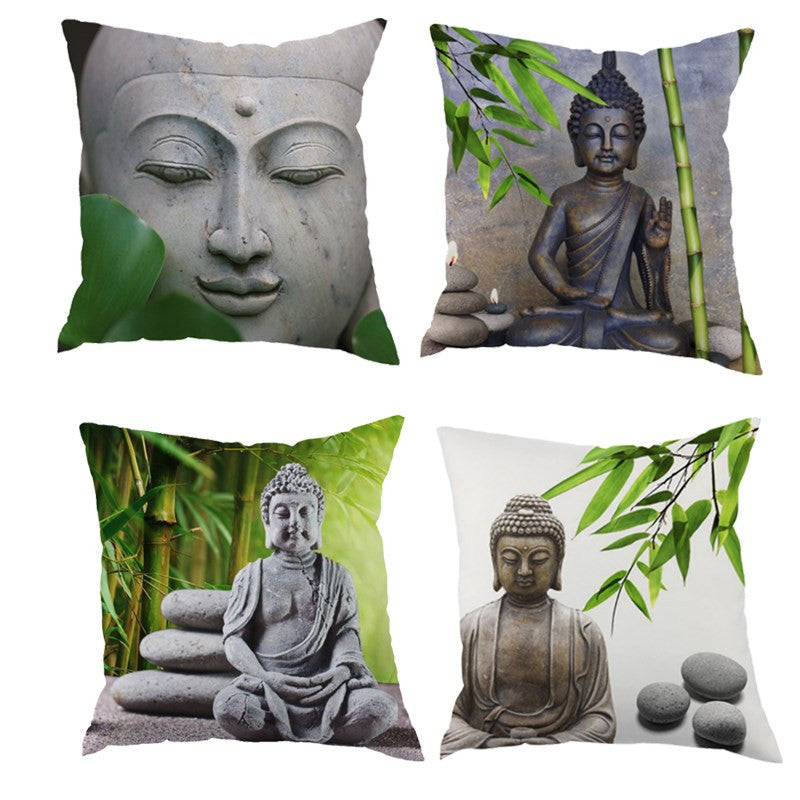 Buddha Zen Polyester Cushion Cover Throw Pillow Case