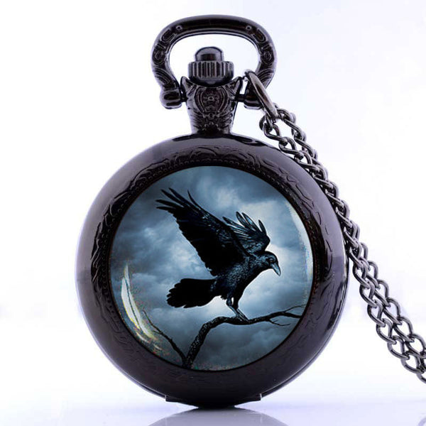 Steampunk Raven Gothic Crow Pocket Watch Necklace