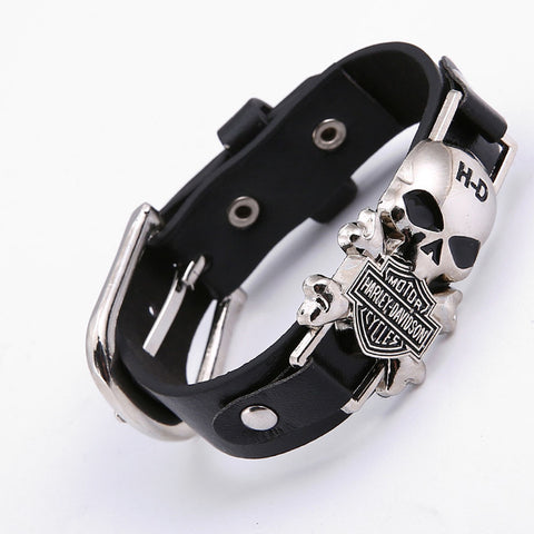 Harley Motor Cycles Punk Skull Rivet Men Bracelet