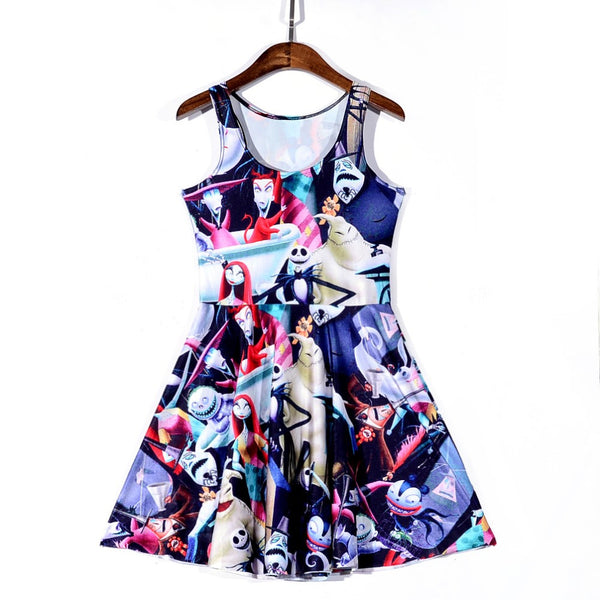 Women Summer Jack Skellington Nightmare Before Christmas 3D Prints Sleeveless Dress