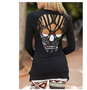 Skull Thin Long Sleeved Cardigan Shirt
