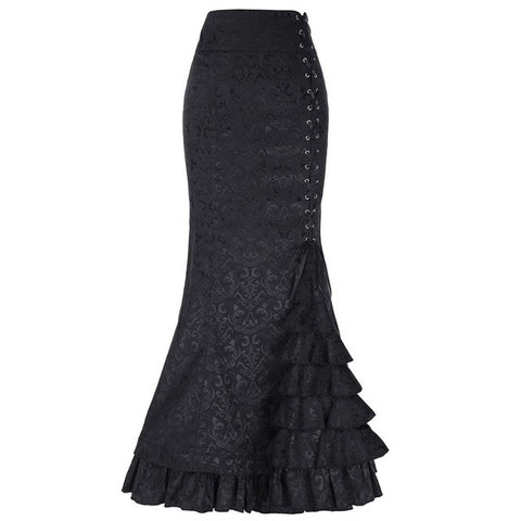 Gothic Jacquard Fishtail Long Mermaid Skirt