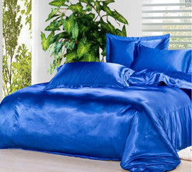 4 pcs Black & Variety Colors Silk Bedding Sets